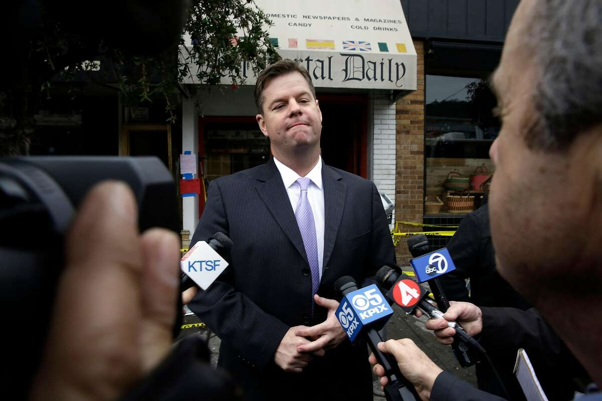 San Francisco Interim Mayor Mark Farrell talks with the media after visiting the fire scene of an overnight blaze that destroyed a hardware store and several others were damaged, in the west portal neighborhood, in San Francisco, Calif., as seen on Wednesday Jan. 24, 2018.