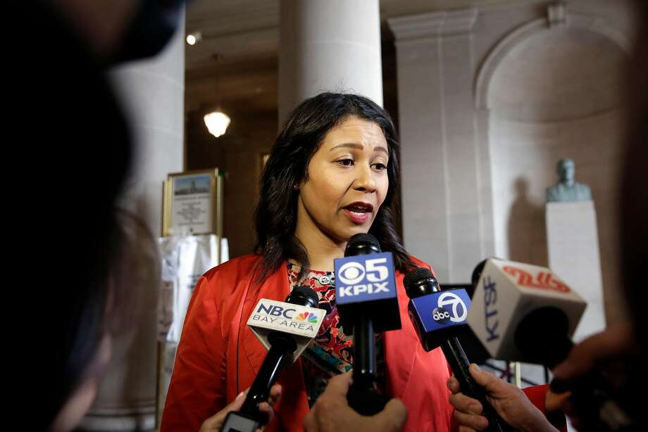 San Francisco Supervisor London Breed speaks with the media after joining a rally on the steps of City Hall Wednesday. Photo: Michael Macor, The Chronicle