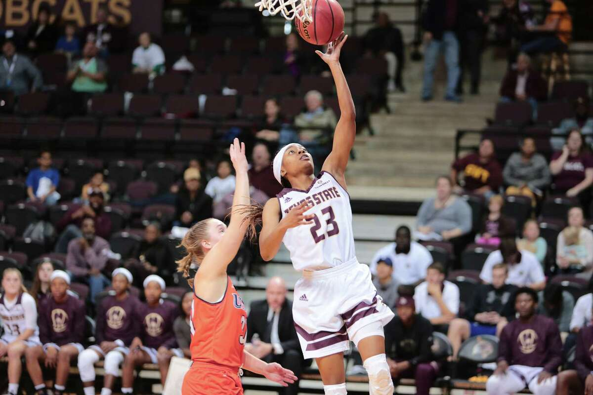 Texas State women's basketball player Taeler Deer in action during the 2017-18 season.