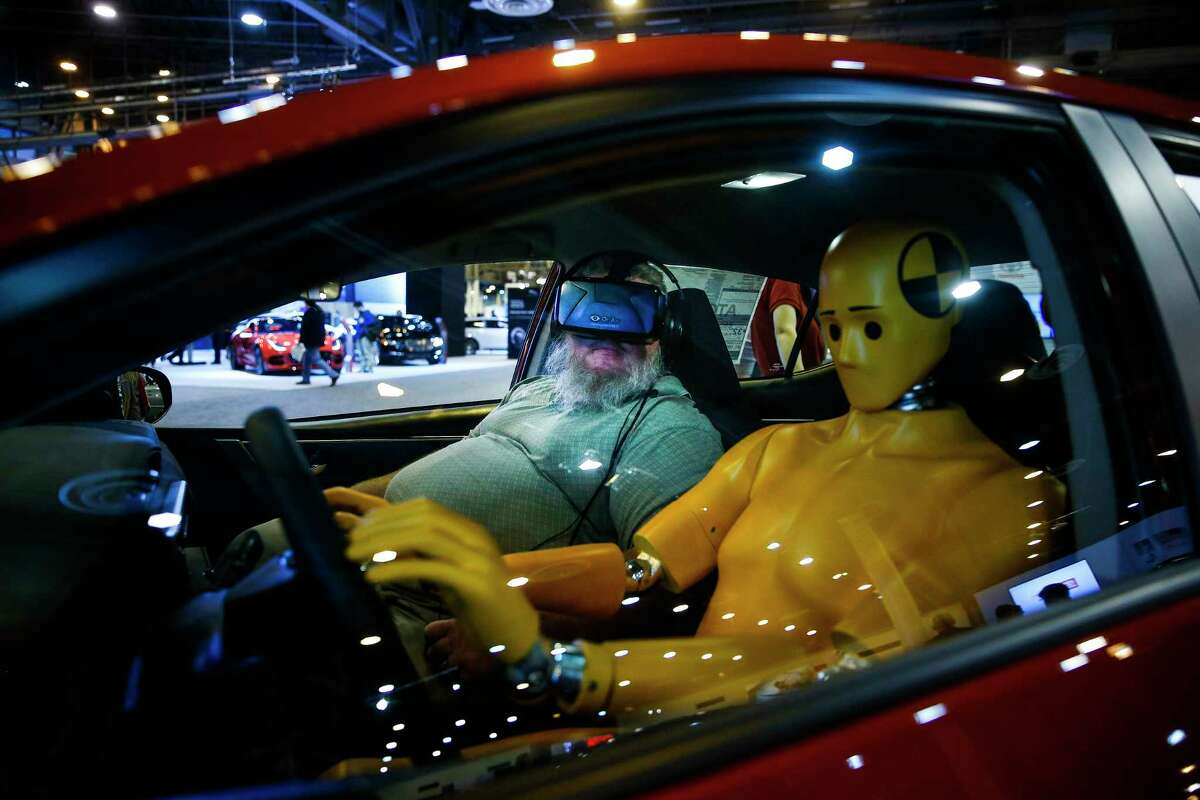 Troy King goes for a virtual reality test drive in the Toyota Corolla during the first day of the Houston Auto Show at NRG Center Wednesday, Jan. 24, 2018 in Houston. ( Michael Ciaglo / Houston Chronicle)