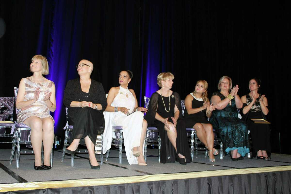 Pictured, from left to right, are honorees Susan Pollard, Jill Curran, Kathy Townsend-Grinan, Diana Rutherford, Luz Rebollar, Jayne Hampson and Barb Campbell at the Hearts of Gold Gala on Saturday, Jan. 20.