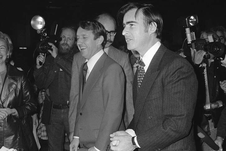 With Assembly Speaker Leo McCarthy and Senate President Pro Tem James R. Mills at left, Governor elect Edmund G. Brown Jr. arrives at inaugural prayer breakfast in Sacramento on Jan. 6, 1975. The breakfast, held in the Earl Warren Community Center, precedes inaugural ceremonies in the Assembly chambers. (AP Photo/WJZ)