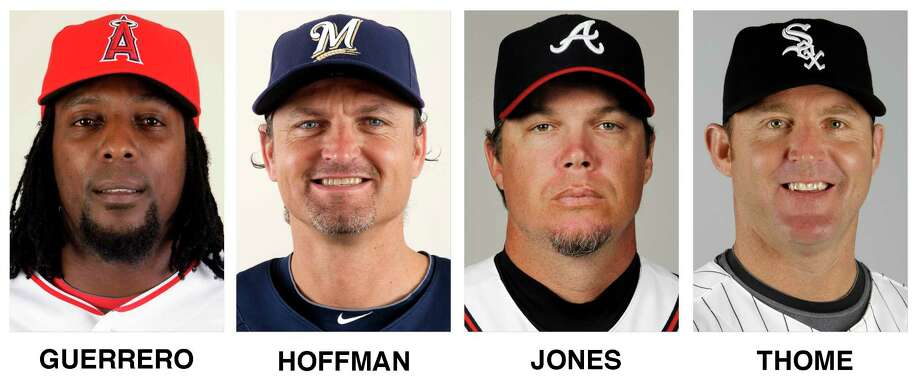 FILE - These file photos show baseball players, from left, Vladimir Guerrero, Trevor Hoffman, Chipper Jones and Jim Thome. All four were elected to baseball's Hall of Fame on Wednesday, Jan. 24, 2018.  (AP Photo/File) Photo: STF / AP