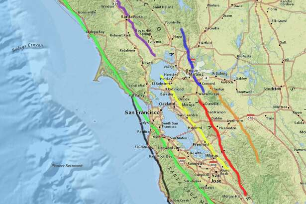 Major faults of the Bay Area.
