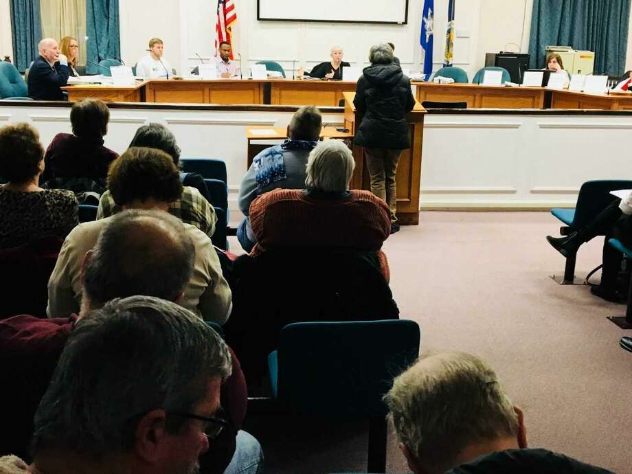 Resident Patricia Bollettieri addresses the West Haven Planning and Zoning Commission regarding proposed zoning regulation text changes related to The Haven Tuesday. Photo: Mark Zaretsky / Hearst Connecticut Media