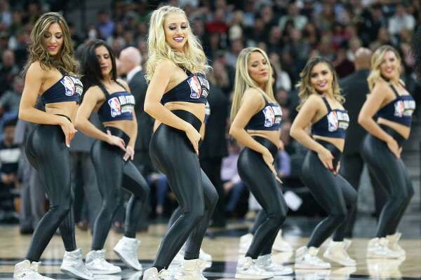 The Silver Dancers perform as the Spurs host the Suns at the AT&T Center on January 5, 2018