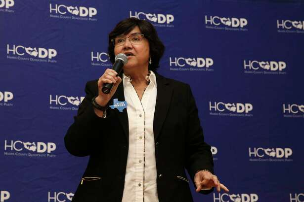 Lupe Valdez, Democrat Party governor candidate for 2018 gubernatorial race, introduces herself to the crowd at a Democratic forum at Deluxe Theatre on Wednesday, Jan. 24, 2018, in Houston.