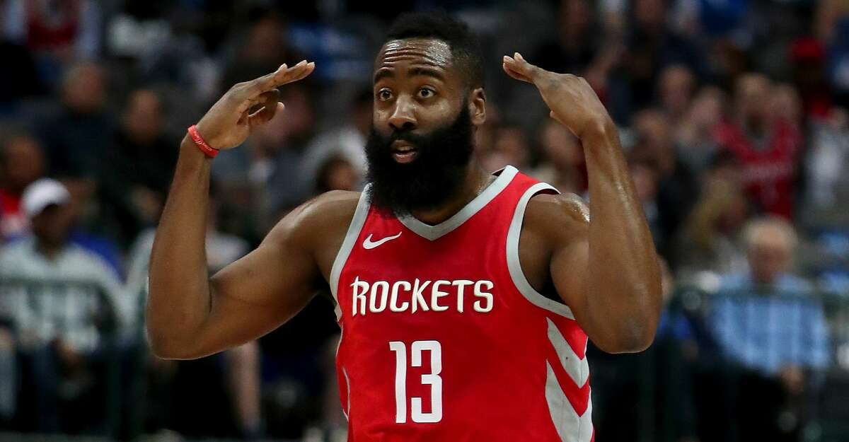 DALLAS, TX - JANUARY 24: James Harden #13 of the Houston Rockets reacts after scoring against the Dallas Mavericks at American Airlines Center on January 24, 2018 in Dallas, Texas. NOTE TO USER: User expressly acknowledges and agrees that, by downloading and or using this photograph, User is consenting to the terms and conditions of the Getty Images License Agreement. (Photo by Tom Pennington/Getty Images)