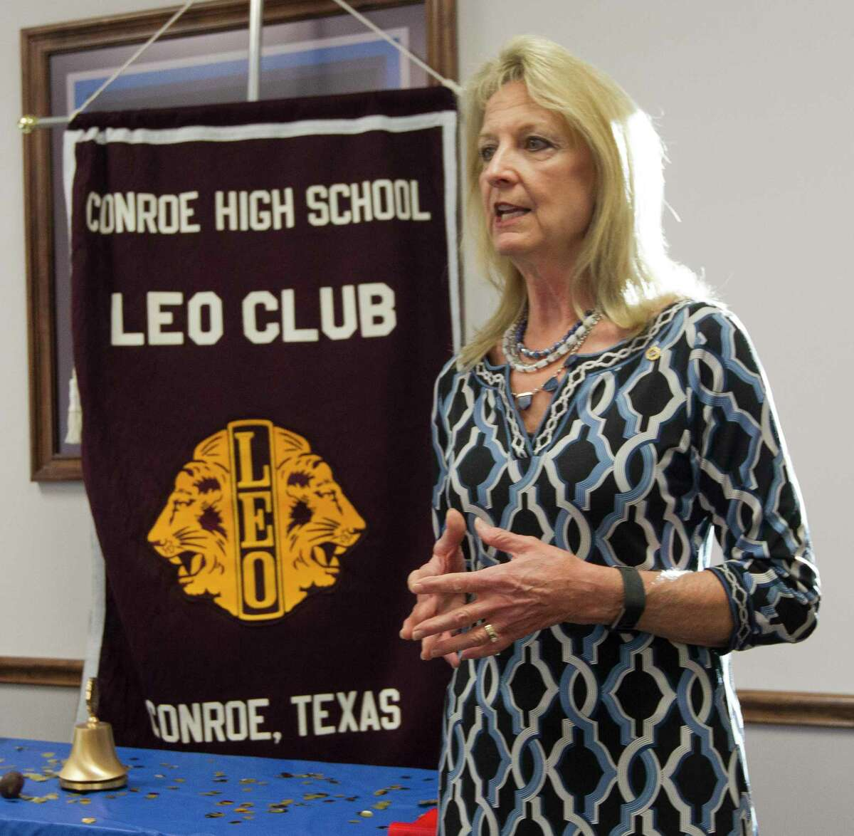 Helen Thornton, president of the Conroe Noon Lions Club, speaks during a meeting of the Conroe High School LEO Club, Wednesday, Jan. 24, 2018, in Conroe. Members of the Conroe Noon Lions Club were on hand to help guide the new high school club.