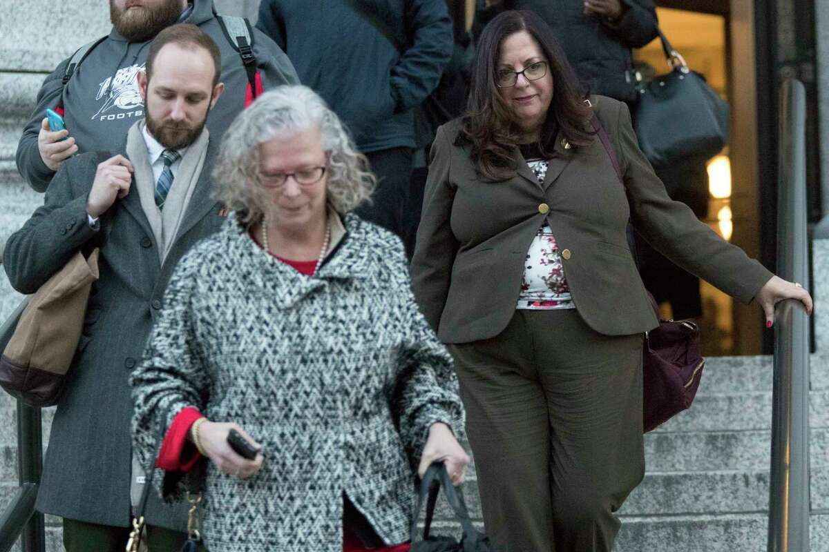 Linda Lacewell, right, chief of staff to New York Gov. Andrew Cuomo, leaves a Manhattan Federal courthouse, Wednesday, Jan. 24, 2018, in New York.Lacewell testified Wednesday at Joseph Percoco's bribery trial. Judith Mogul, left, represented Lacewell during court proceedings. (AP Photo/Mary Altaffer)