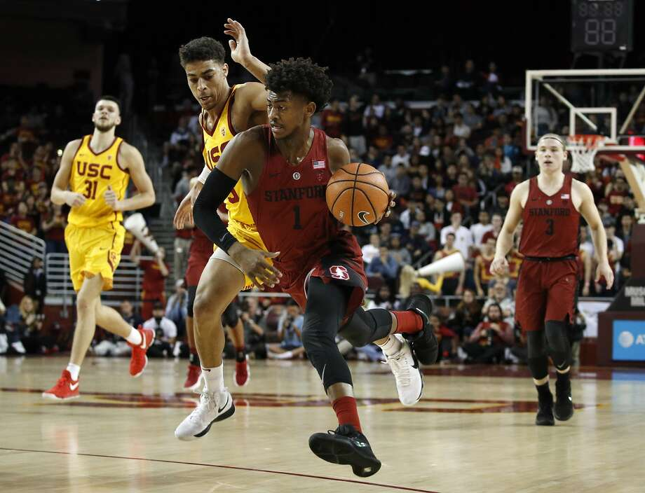 Stanford's Daejon Davis drives past Southern California's Derryck Thornton during the first half of an NCAA college basketball game Wednesday, Jan. 24, 2018, in Los Angeles. (AP Photo/Jae C. Hong) Photo: Jae C. Hong, Associated Press