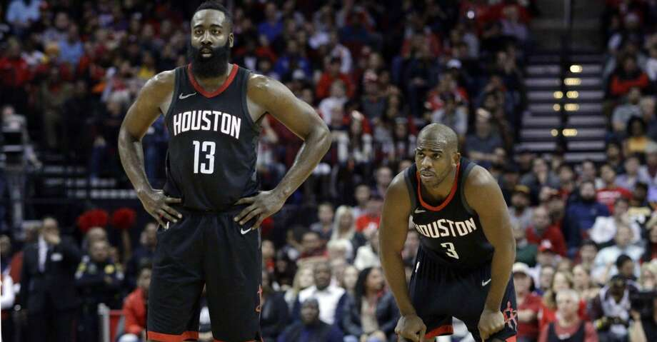 """PHOTOS: Rockets game-by-game""""Second-best overall record in the NBA, No. 2 in the best conference in the league,"""" said Rockets guard James Harden. """"He averages what, 19 and nine assists? What are we rewarding? We're winning and he's putting up the numbers, there's no question.Browse through the photos to see how the Rockets have fared through each game this season. Photo: Michael Wyke/Associated Press"""