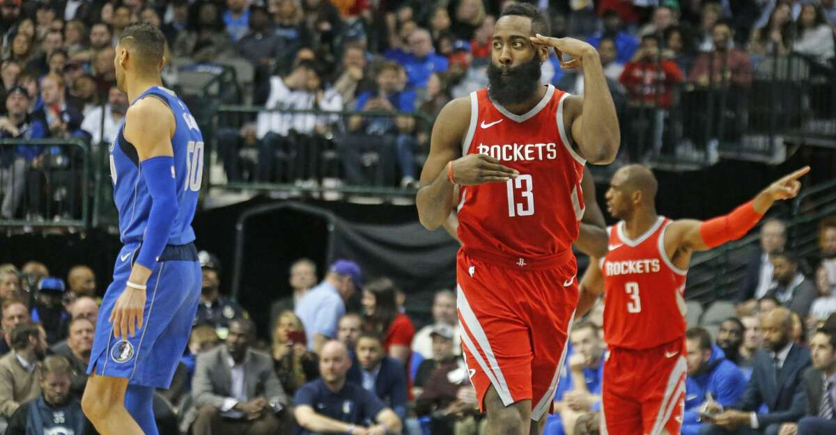 The Houston Rockets' James Harden (13) gestures after hitting a 3-pointer in the second half against the Dallas Mavericks at the American Airlines Center in Dallas on Wednesday, Jan. 24, 2018. The Rockets won, 104-97. (Louis DeLuca/Dallas Morning News/TNS)