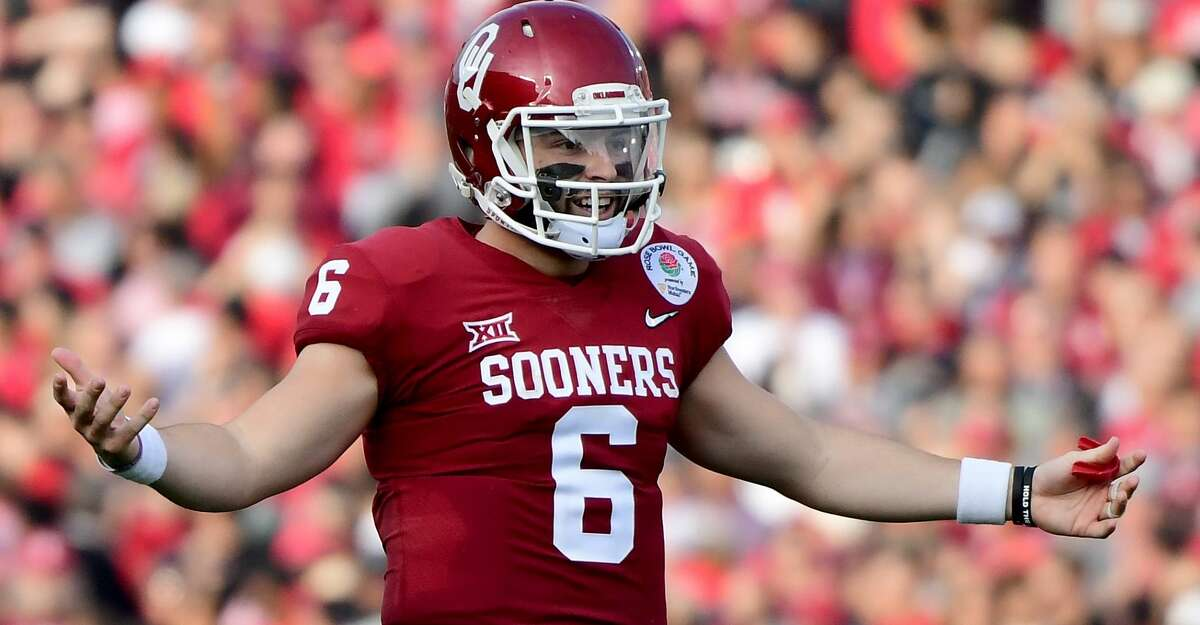 PASADENA, CA - JANUARY 01: Baker Mayfield #6 of the Oklahoma Sooners reacts after there is no penalty call on a pass during the second quarter in the 2018 College Football Playoff Semifinal Game against the Georgia Bulldogs at the Rose Bowl Game presented by Northwestern Mutual at the Rose Bowl on January 1, 2018 in Pasadena, California. (Photo by Harry How/Getty Images)