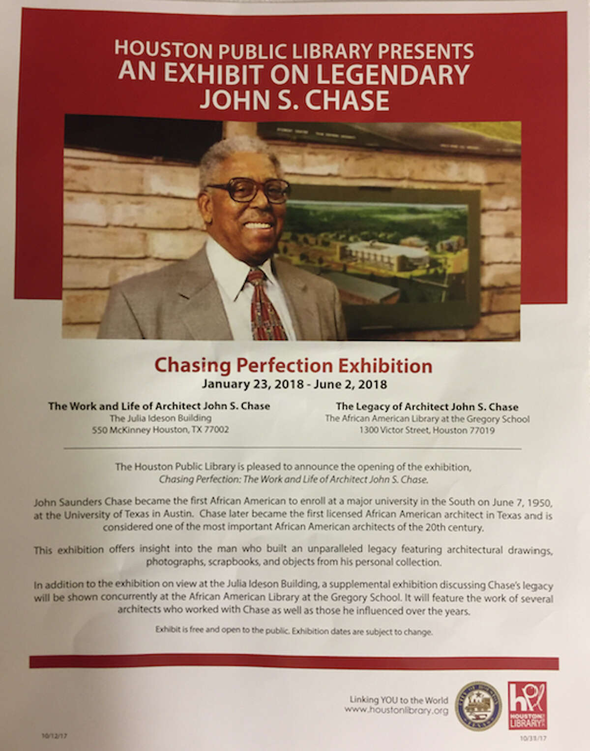 A flyer from the opening night of Chasing Perfection, a two-part exhibit about the work, life and legacy of pioneering Houston...