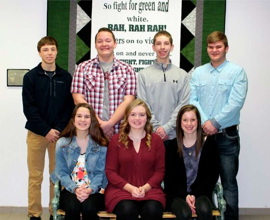 (Above) The Laker senior court members are (front row from left): Michelle Deering, Miranda Farver and Elle McCabe; (Back row from left): Adam Reinhardt, Lance Gascho, Corey Hatfield and Mitchell Scheutte. Not pictured is Sayge Ackerman. (Below) The Laker underclassmen class representatives are (from left): Andrew Siegfried and Madison Krohn, juniors; Jax McCabe and Addison Pasek, sophomores; and Blake Smithers and Lauren Henry, freshmen. (Submitted Photos)