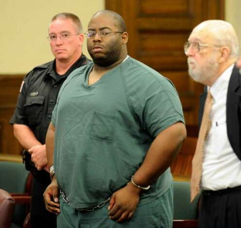 The trial of  Adrian Thomas, shown here at his arraignment  Sept. 29, 2008, for second-degree murder in the death of his son, will be the first  in Rensselaer County to feature a videotaped statement by a defendant.  (Skip Dickstein / Times Union)