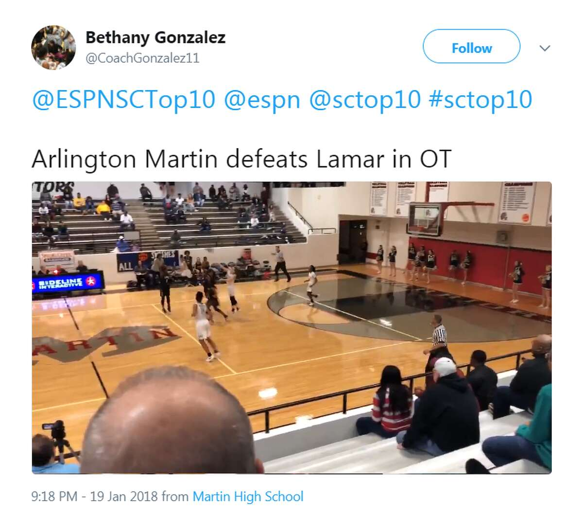 Tatum Henderson of Arlington Martin sunk a half court shot to defeat Arlington Lamar 56-53 in an overtime victory.Source: Twitter See which basketball players from Houston are considered top recruits in the gallery ahead.