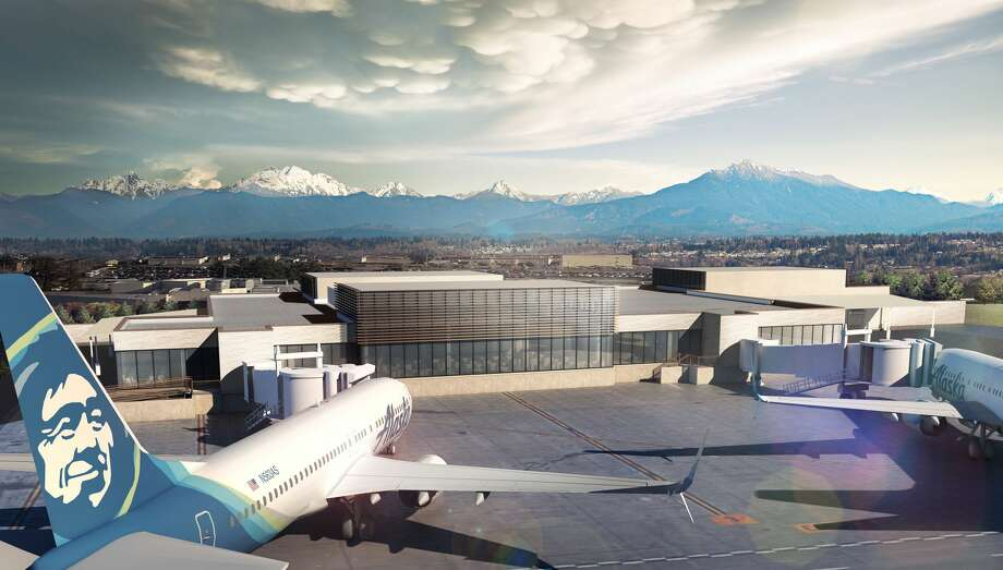 A rendering shows a new passenger terminal at Paine Field in Everett. Alaska Airlines announced Tuesday it will delay service from the new terminal. Keep clicking for photos of Alaska Airlines uniforms through the years... Photo: Propeller Airports