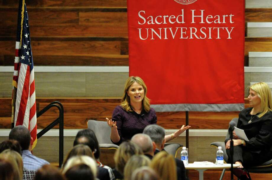 Jenna Bush Hager speaks at the Martire Center Atrium as part of the Distinguished Leaders Series at Sacred Heart University in Fairfield, Conn., on Wednesday Jan. 24, 2018. At right is host SHU Trustee Katie Burke, who serves as senior strategist and global chief of staff at Edelman, a global communications marketing firm. Photo: Christian Abraham / Hearst Connecticut Media / Connecticut Post