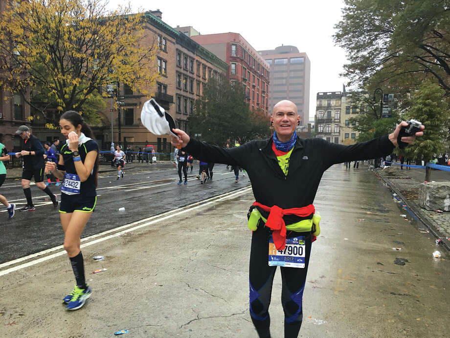 Chris Carenza at the end of the New York City Marathon. Photo: For The Intelligencer