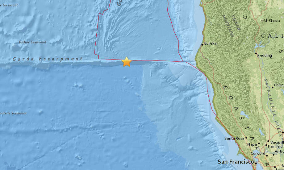 A magnitude 5.8 earthquake struck off the California Coast on January 25, 2018. Photo: USGS