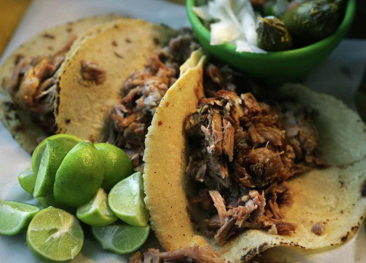 Carnitas tacos come with the city's best corn tortillas at Carnitas Lonja.
