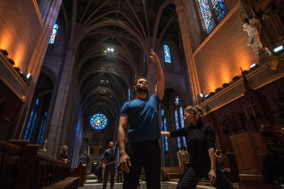 """Above: James Gilmer and Josie G. Sadan rehearse for """"Path of Miracles"""" at Grace Cathedral. Right: Rachel Furst, a member of the ODC troupe, dances on the steps of the cathedral. Photo: Robbie Sweeny"""