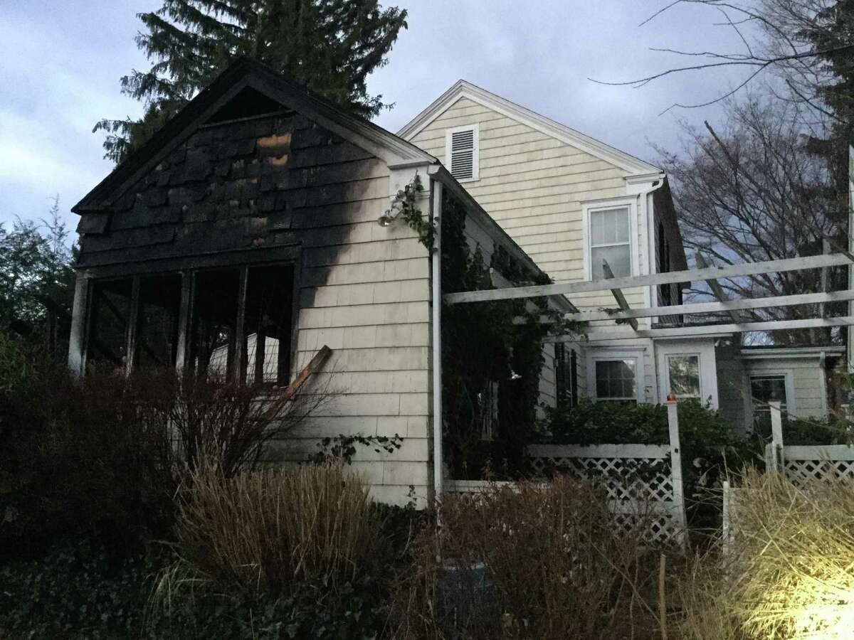 Damage to a historical home on Old Long Ridge Road due to a fire on Wednesday morning, Jan 24, 2018.