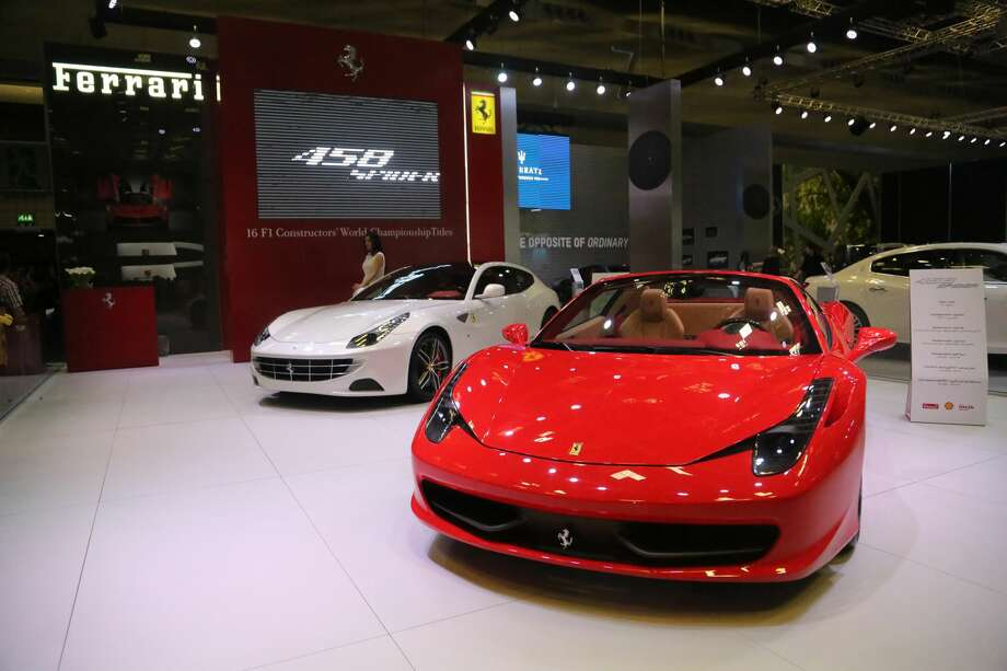 FILE -- A view of the Ferrari 458 Spider at the Qatar Convention Centre in Doha, Qatar in this February 23, 2014 file photo.The owner of a $300,000 Ferrari is suing Marriott International, saying a hotel valet in St. Petersburg, Fl. gave his keys to a young man who was trying to impress a woman he just met. Photo: Anadolu Agency/Getty Images