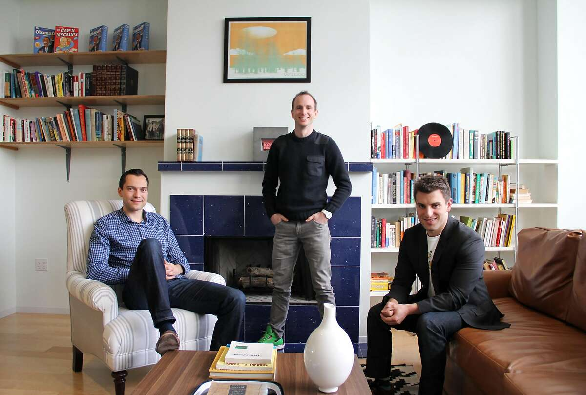 Airbnb founders Nathan Blecharczyk, Joe Gebbia and Brian Chesky in the meeting room based on Gebbia and Chesky's original apartment on Rausch Street in San Francisco, where the company was born.