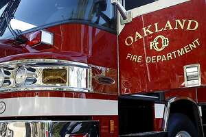 Oakland Fire Department engine sit in outside fire station in Oakland.