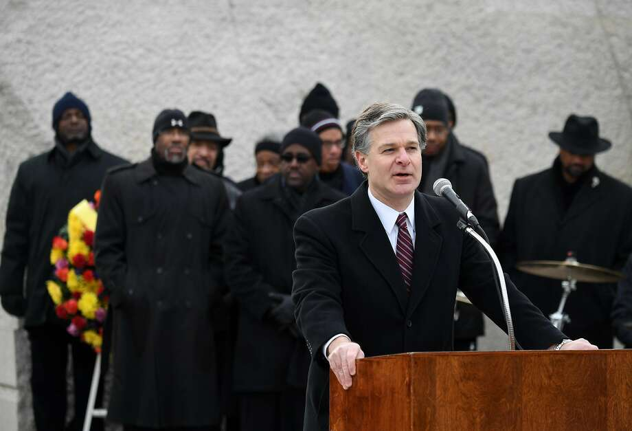 FBI Director Christopher Wray spoke recently at Martin Luther King Jr. Memorial. The Congressional Black Caucus asked him to designate white extremists as domestic terrorists. Photo: Xinhua, TNS