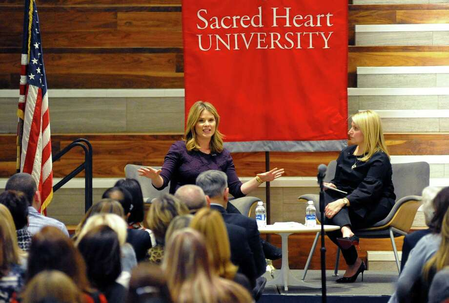 Jenna Bush Hager speaks on Wednesday, Jan. 24, 2018, at Sacred Heart University in Fairfield, Conn. Like many schools nationally, Sacred Heart saw its endowment increase by a double-digit percentage in 2017 due to a surging stock market, according to a study released Thursday by Wilton-based Commonfund. Photo: Christian Abraham / Hearst Connecticut Media / Connecticut Post
