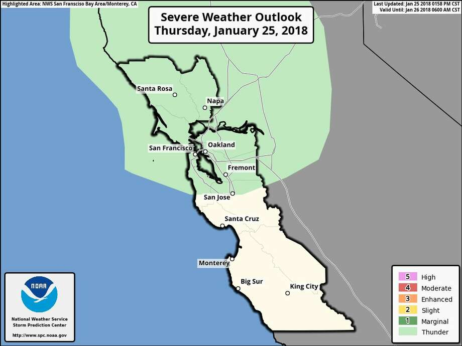 "The National Weather Service reports on Jan. 25, 2018: There remains a small chance of isolated thunderstorms this afternoon for the greater San Francisco Bay Area, East Bay Hills, and North Bay (green shading)."" Photo: National Weather Service"