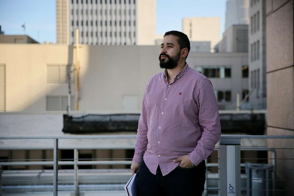 """Issam from the United Kingdom stands for a portrait at WeWork, Tuesday, Jan. 23, 2018, in San Francisco, Calif. He attended the Finkelman Immigration Law Firm's panel called """"Understanding the Changing U.S. Immigration Landscape for Entrepreneurs & Startups."""""""