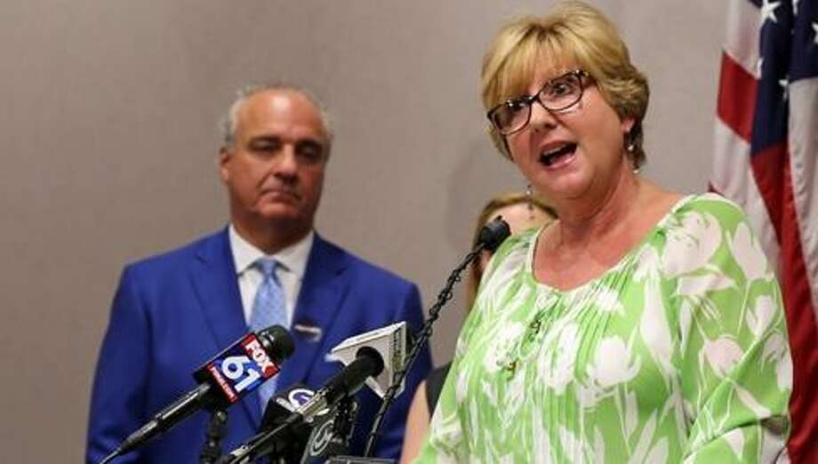 Rep. Cathy Abercrombie at a press conference last year Photo: CTNewsJunkie File Photo