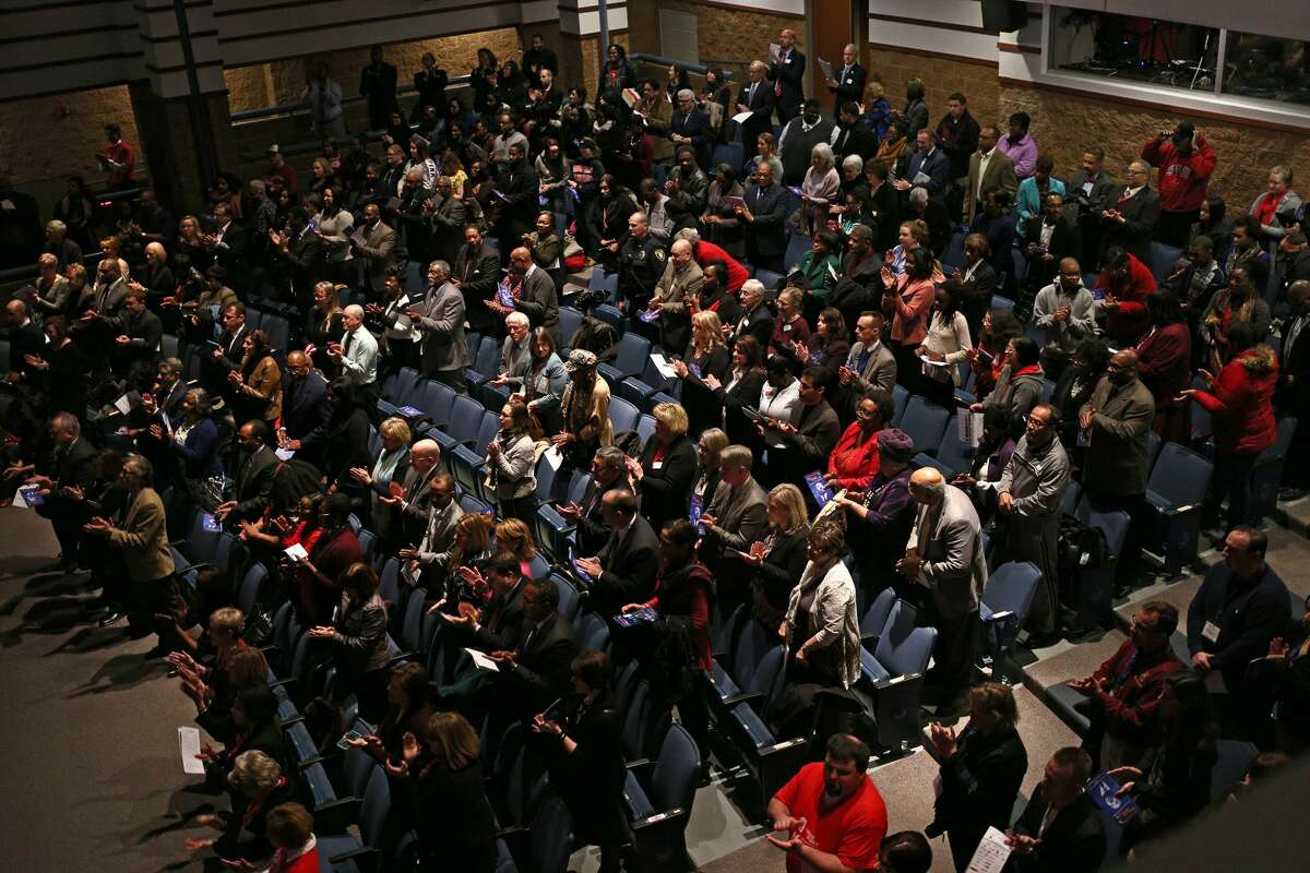 The audience applauds during the MLK Regional Celebration at Saginaw Valley State University on Wednesday, Jan. 24, 2018. (Samantha Madar/for the Daily News)