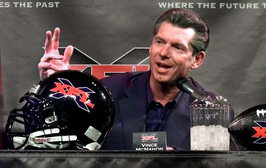 FILE - In this Feb. 3, 2000, Vince McMahon, chairman of the World Wrestling Federation, speaks during a news conference in New York. The XFL is set for a surprising second life, McMahon announced Thursday, Jan. 25, 2018. McMahon said the XFL would return in 2020 but offered few other details about the late winter/early spring football league. (AP Photo/Ed Bailey, File) Photo: ED BAILEY, Associated Press