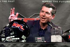 FILE - In this Feb. 3, 2000, Vince McMahon, chairman of the World Wrestling Federation, speaks during a news conference in New York. The XFL is set for a surprising second life, McMahon announced Thursday, Jan. 25, 2018. McMahon said the XFL would return in 2020 but offered few other details about the late winter/early spring football league. (AP Photo/Ed Bailey, File)