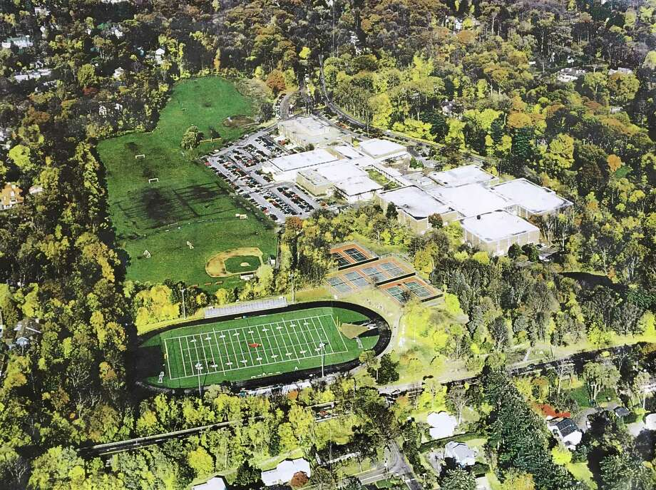 An aerial photograph of the Greenwich High School grounds shortly after the stadium lights were installed in 2005. Photo: Contributed Photo / Contributed Photo / Greenwich Time Contributed Photo