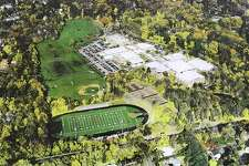 An aerial photograph of the Greenwich High School grounds shortly after the stadium lights were installed in 2005.