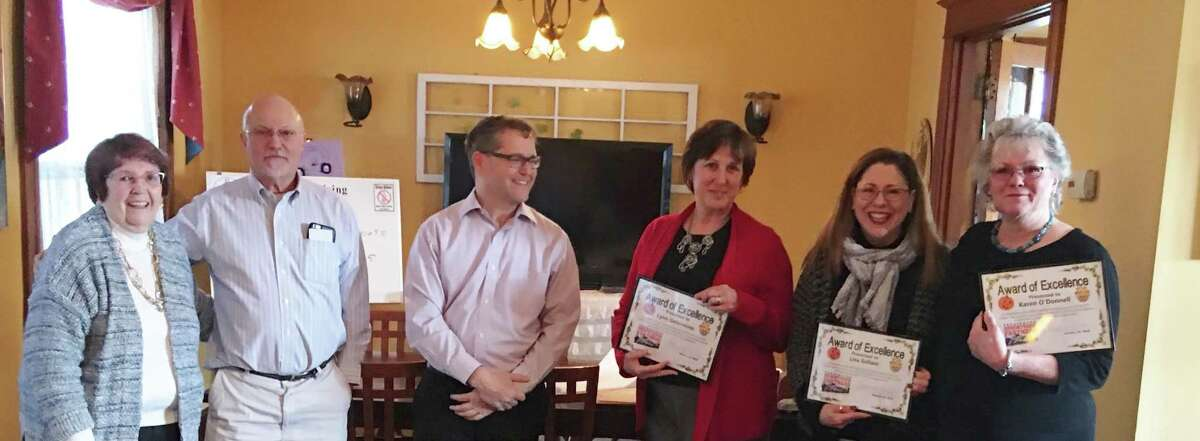 Torrington Downtown Partners hosted Lynn Gelormino, executive director of the Warner Theatre; Lisa Soliani, owner of Hatfield Jewelers; and Karen O?'Donnell, owner of the Ritz Crystal Room and Ritz Café, at a luncheon at Ciesco Catering Wednesday.