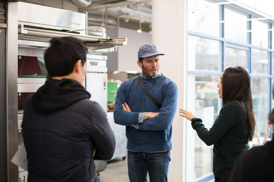 Tartine's Chad Robertson speaks with employees during a pre-opening visit to the Tartine's Seoul location. Photo: Tartine Seoul