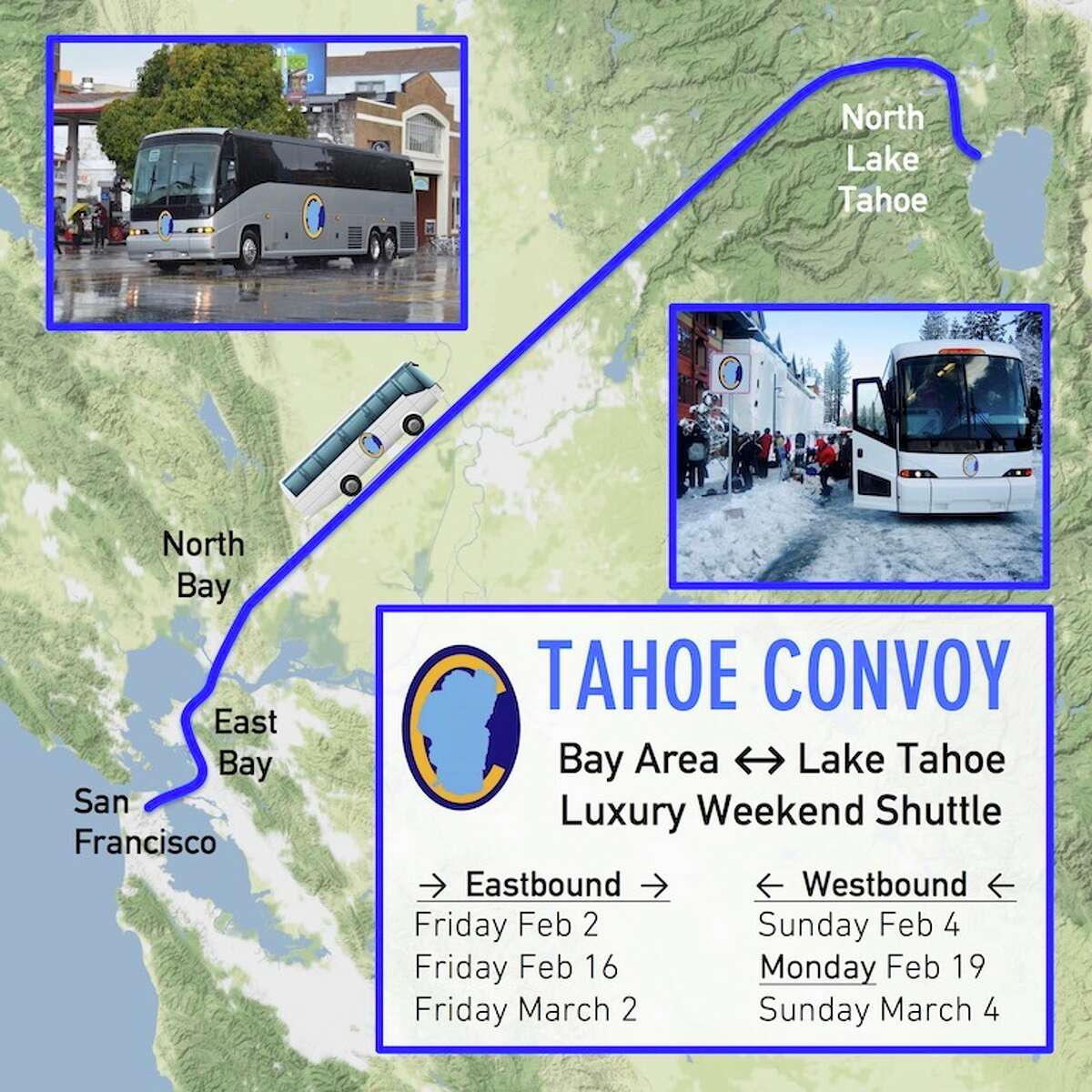 This map shows the route Tahoe Convoy will be taking during its initial launch.