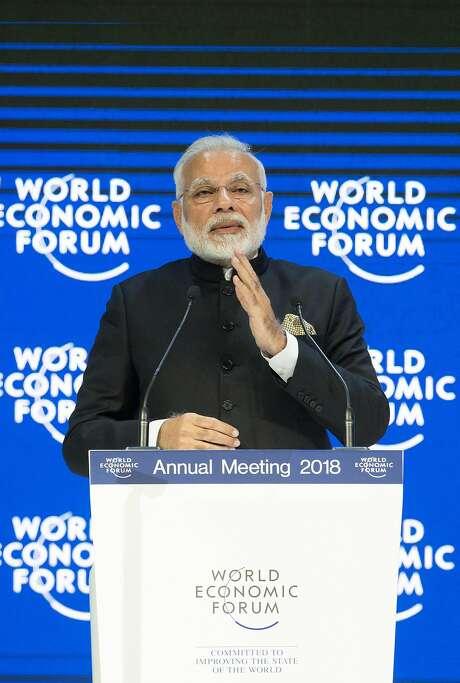 Indian leader Narendra Modi speaks to global leaders in Davos, Switzerland. Photo: Xinhua, TNS