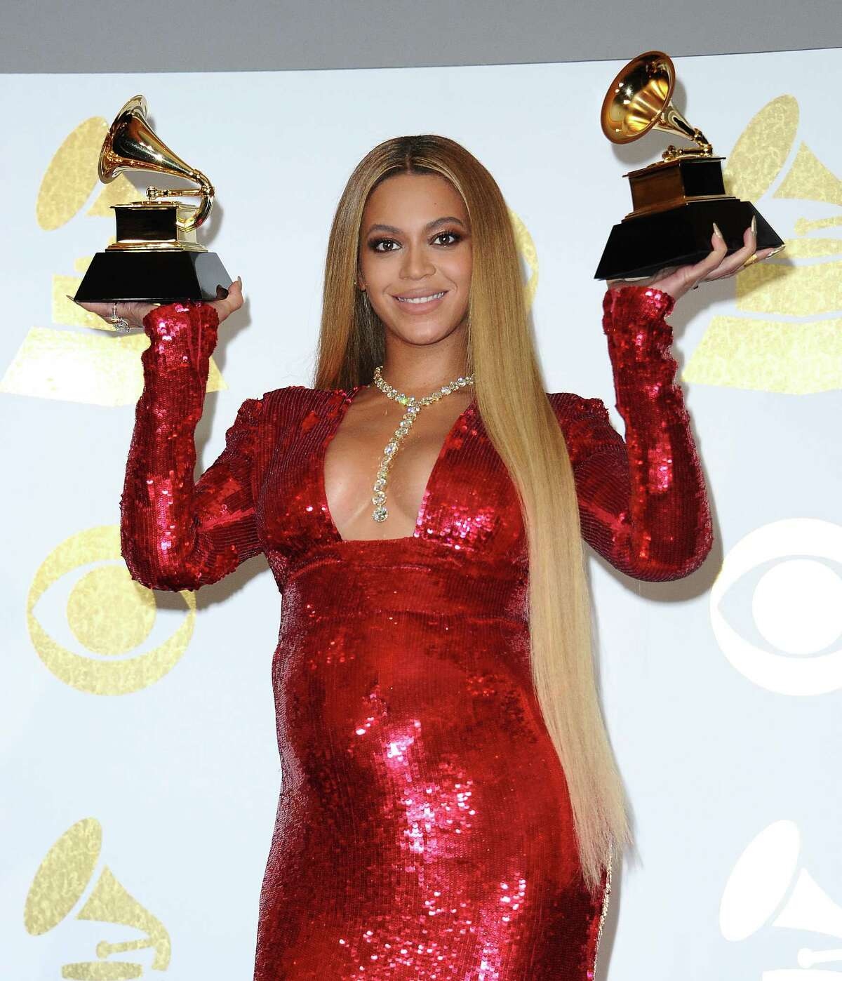 Beyonce poses in the press room at the 59th GRAMMY Awards at Staples Center on February 12, 2017. This year, she's up for an award for a collaboration with her husband, Jay-Z.