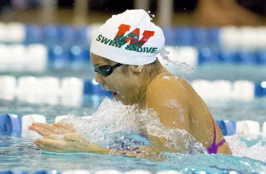 The Woodlands' Caitlin Reynera competes during District 13-6A swim meet at Conroe ISD Natatorium, Saturday, Jan 20, 2018, in Shenandoah. Photo: Jason Fochtman, Staff Photographer / © 2018 Houston Chronicle