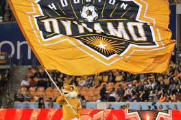 Houston Dynamo mascot Diesel waves a Dynamo flag beforew the first half of the MLS Western Conference Finals at BBVA Compass Stadium on Tuesday, Nov. 21, 2017, in Houston.
