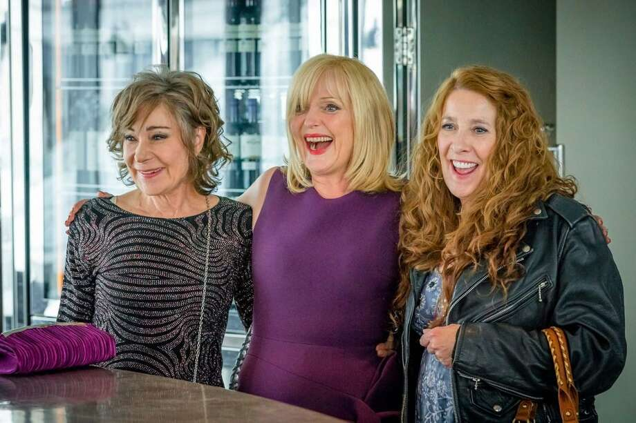 "On a dreaded milestone birthday, Sue (Miranda Richardson) benefits from the comfort and support of her two besties, Gail (Zoe Wanamaker) and Linda (Phyllis Logan), in Acorn TV's ""Girlfriends."" Photo: Acorn TV /"